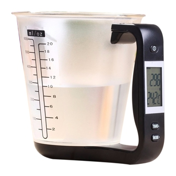 600ml 1kg/1g Measuring Cup Kitchen Scales Digital Beaker Temperature Measurement Cups Electronic Tool Scale With LCD Display image