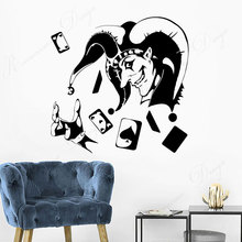 Joker Card Poker Gambling Gambler Casino Wall Sticker Vinyl Interior Design Decoration Decals Removable Wallpaper Murals 4326 travel agency office wall sticker vinyl interior home decor decals say hello to summer voyage murals removable wallpaper 3605