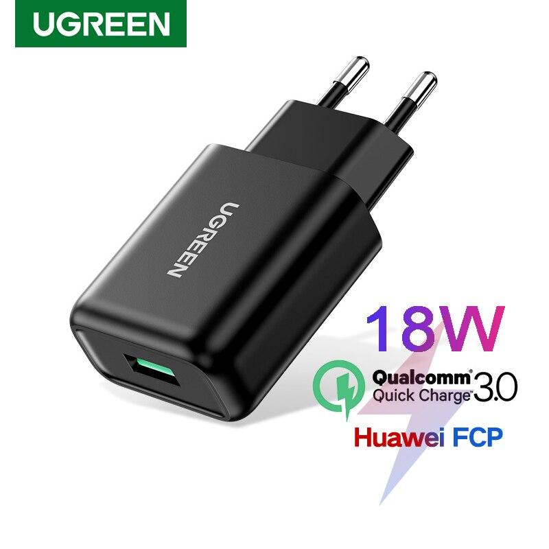 Ugreen-cargador USB de 18W para teléfono móvil, dispositivo de carga rápida 3,0 QC3.0 para Samsung S10 Huawei P40 iPhone