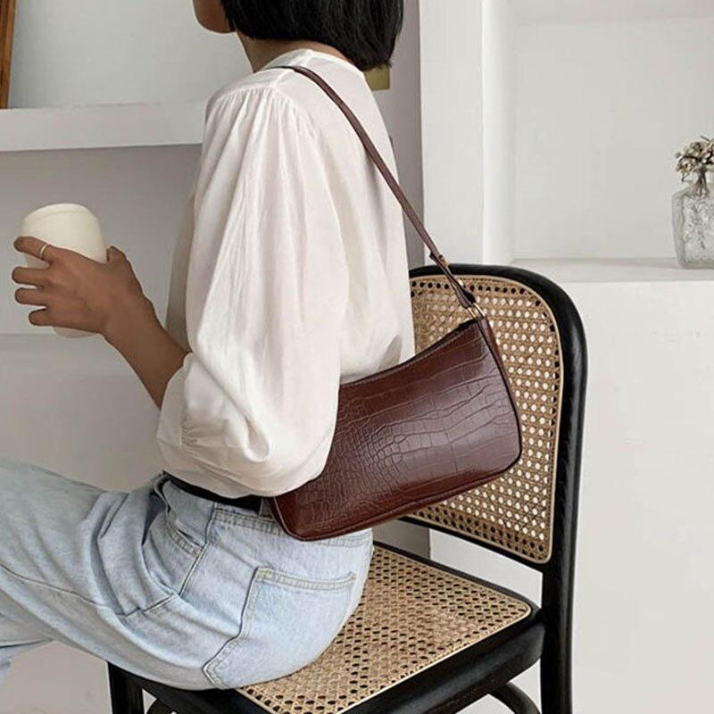 Retro-Crocodile-Pattern-Shoulder-Women-Bag-Fashion-PU-Leather-Armpit-Bag-France-Baguette-Bag-Advanced-Design