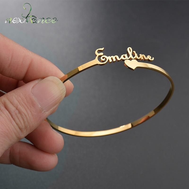 Nextvance Customized Nameplate Name Bracelet Personalized Custom Cuff Bangles Women Men Rose Gold Stainless Steel Jewelry(China)