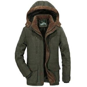 Image 4 - Chaqueta gruesa de lana para hombre, abrigo de invierno, abrigo informal a prueba de viento con capucha, Parkas militares de talla grande 6XL 7XL