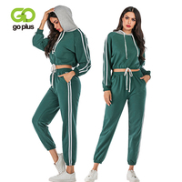 Winter 2 Piece Tracksuit Set Women Short Patchwork Striped Hoodies and Long Pants Conjuntos De Mujer Chandal Mujer 2 Piezas