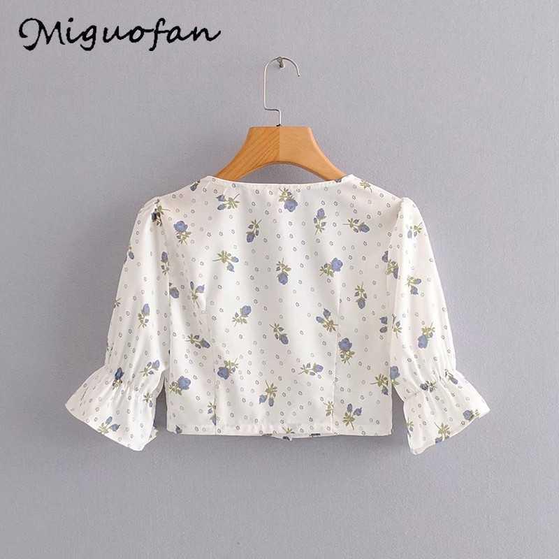 Miguofan kwiatowy print krótka bluzka koszule damskie vintage przycisk sexy v neck bufiasty krótki rękaw bluzka letnia plaża boho blusas nowy