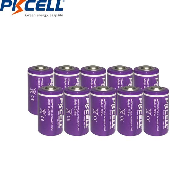 10PCS/lot PKCELL 1/2 AA Battery 3.6V ER14250 14250 1200mAh LiSOCl2 Lithium Battery Batteries for GPS