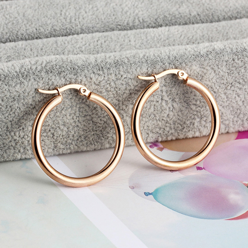 Small Thick Hoop Earrings Rose Gold Stainless Steel Smooth Circle Ring Earrings For Women Clip On Fashion Wedding Jewelry 2019