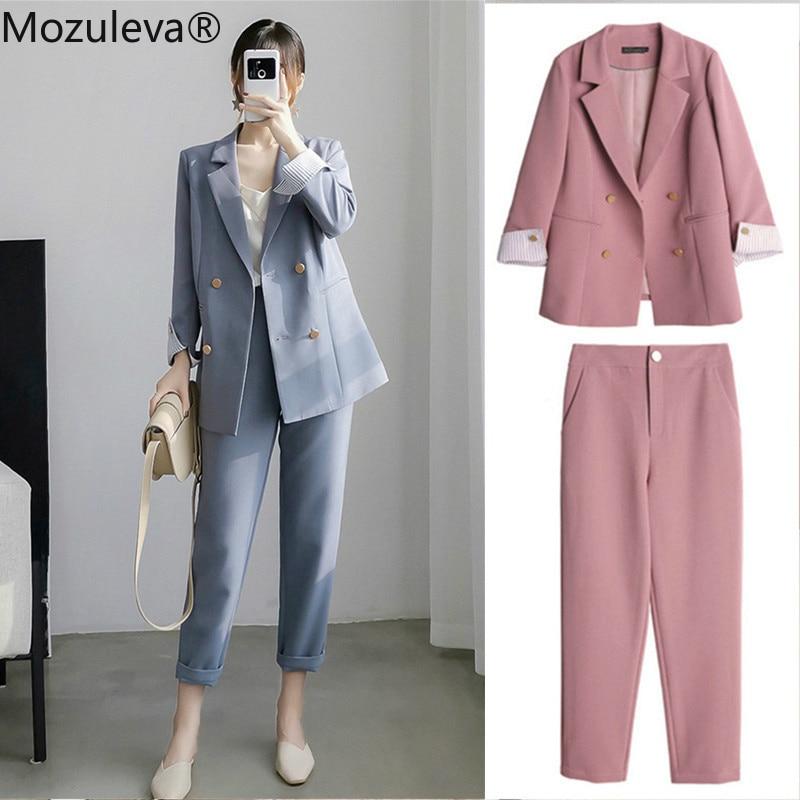 BornSra 2020 New Office Ladies Blazer Suit Double Breasted Pockets Female Blazer Pants Set Streetwear Elegant Women Pant Suit