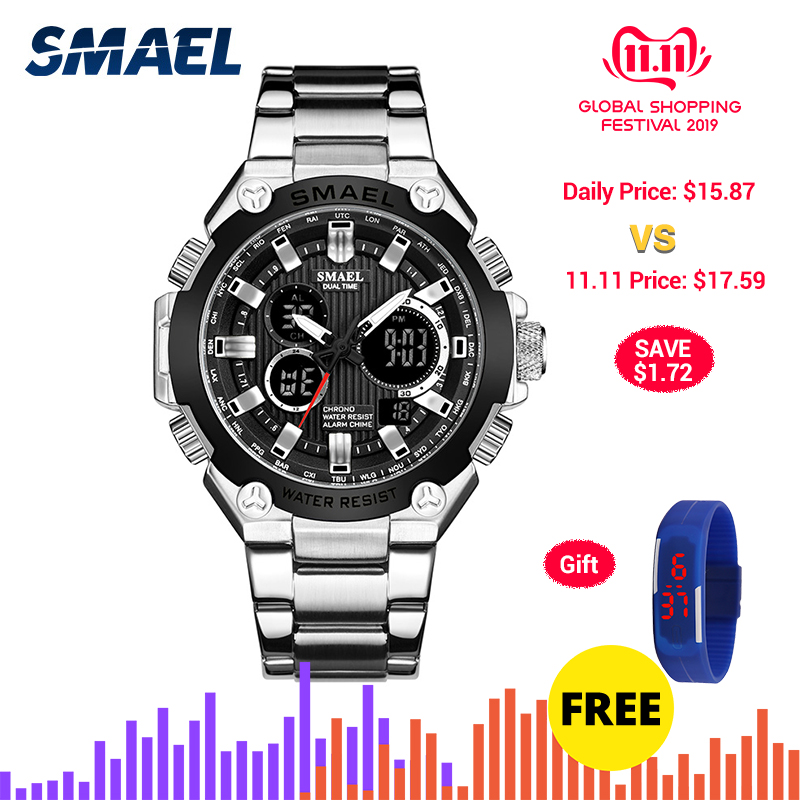 SMAEL Mens Watches Top Brand Luxury Quartz Wrist Watch Men Waterproof Male Clock Chronograph Sport Watch relogio masculino 1363