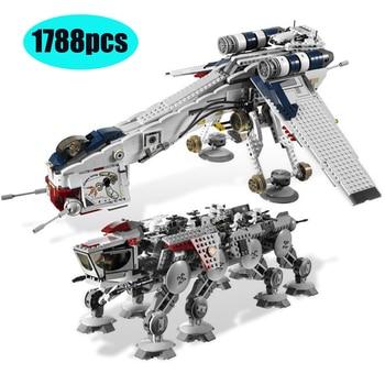 05053 1788Pcs Genuine Star Was Republic Dropship with AT-OT Walker Set Building Blocks Bricks Compatible Lepining 10195 toys