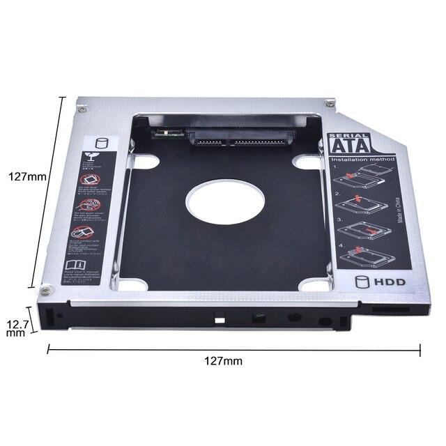 Tirhric 2ND HDD Caddy 9,5mm/12,7mm Optibay SATA 3,0 Funda de disco duro/Adaptador de carcasa DVD HDD disco duro para 2,5 ''SSD 2TB para portátil