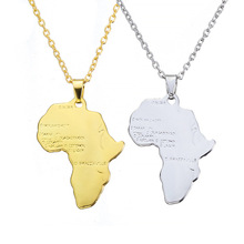 HF JEL Bohemia Africa Map Pendant Necklace For Women Gold Silver Geometric Long Chain Jewelry Choker