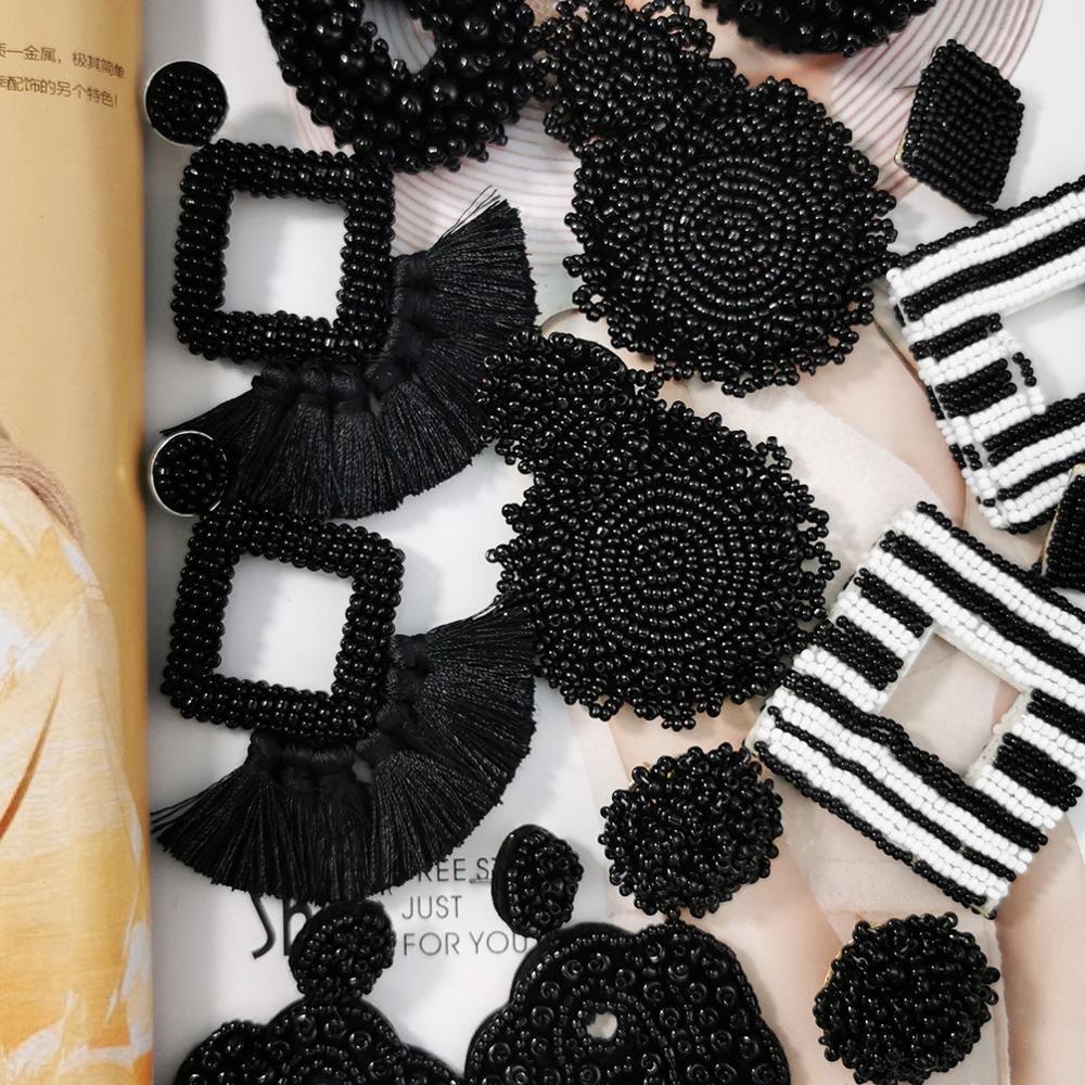 Bohemian Black Beaded Earrings Handmade Beads Drop Dangle Earrings For Women Statement Earrings Big Jewelry Brincos 2019 UKEN
