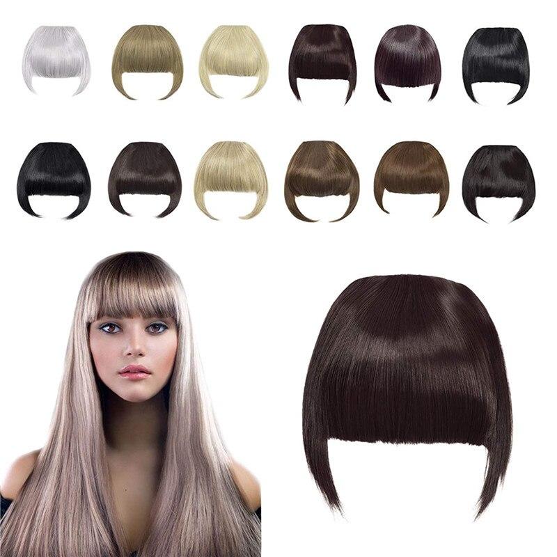 Kong & литий ионный зажим в Челка наращивание волос чёрный; коричневый блонд Поддельные парик с челкой 25 цветов синтетические прямая челка для...