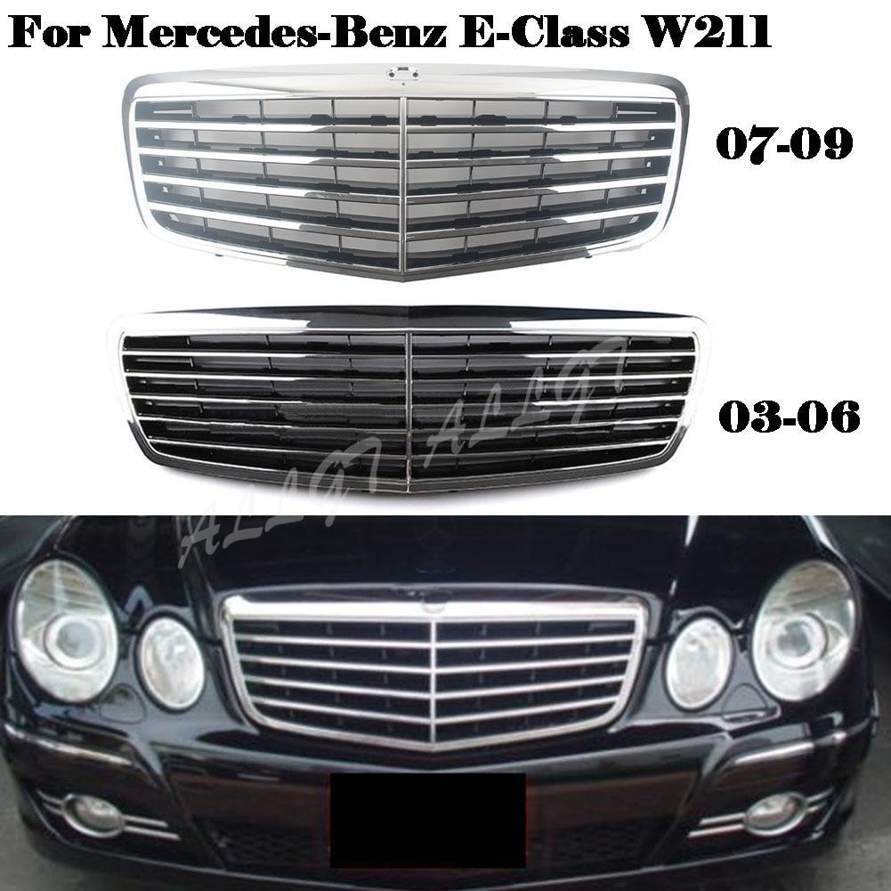 Front Grill Center Hood Grille Bumper For Mercedes Benz E Class W211 E200 E240 E320 2003 2004 2005 2006 2007 2008 2009 Chrome Racing Grills Aliexpress