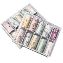 10 rolek/pudełko 10 kolorowe paznokcie naklejka foliowa papier marmurowy 1 zestaw nail Art folia Transfer naklejka Nail Art sticker4cm * 1m w 1 pudełku