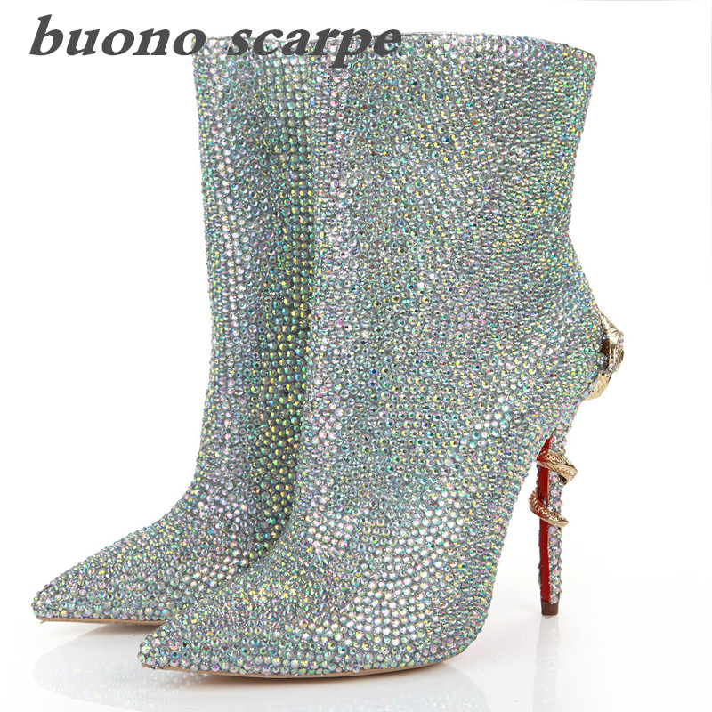 2019 new snake-shaped high-heeled pointed head side zipper hand-drilled colorful ladies fashion booties