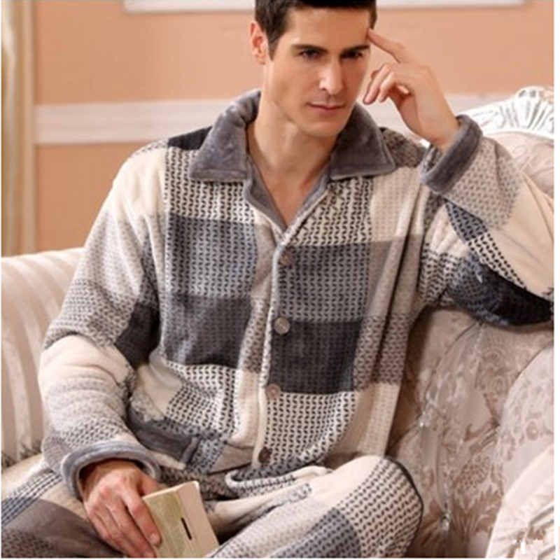 2020 Winter Pajamas For Men Thick Flannel Sleepwear Suit 2 Piece Pyjama Homme Warm Casual Home Clothing Pijama Hombre