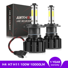 ANYHOW H4 H7 H11 Car LED Headlight 100W 10000LM 4 Side Chips Car Bulb 5202 H13 9007 9005 9006 6500K LED Lights led headlight p8 philips chips 40w 4000lm led car headlight h13