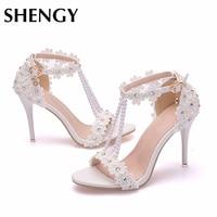2019 New Women High Heels Summer Thin Heels Peep Toe Pearl Diamond Pumps Flower Office Wedding Sandals Party Shoes