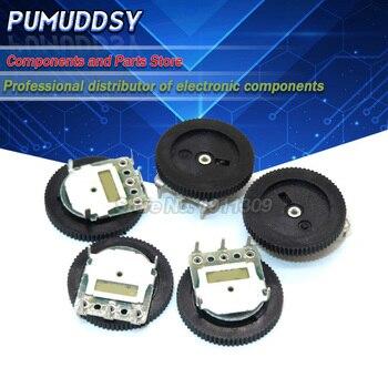 5PCS Double Gear tuning potentiometer B102 B103 B203 B503 B1K B10K B20K B50K 3Pin/5Pin 16*2mm Dial Potentiometer 12 foot single bend joint potentiometer b10k potentiometer with switch