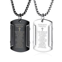 2019 Men Hip hop Cross bible pendant necklaces Stainless Steel never fade vintage dog tag pendants Necklace Hiphop jewelry gifts(China)