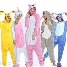 Зимние Kigurumi для взрослых женские пижамы, комплект пижам с рисунком животных Пижама Рождественские Ползунки Единорог для детей и мужчин, для детей, одежда для сна Розовая пантера в виде кролика