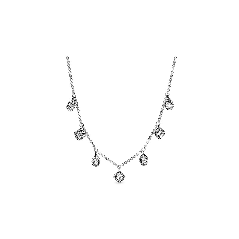 925 Sterling Silver Pave Daisy Flower Collier With Crystal Necklace For Women Wedding Party Pandora Jewelry