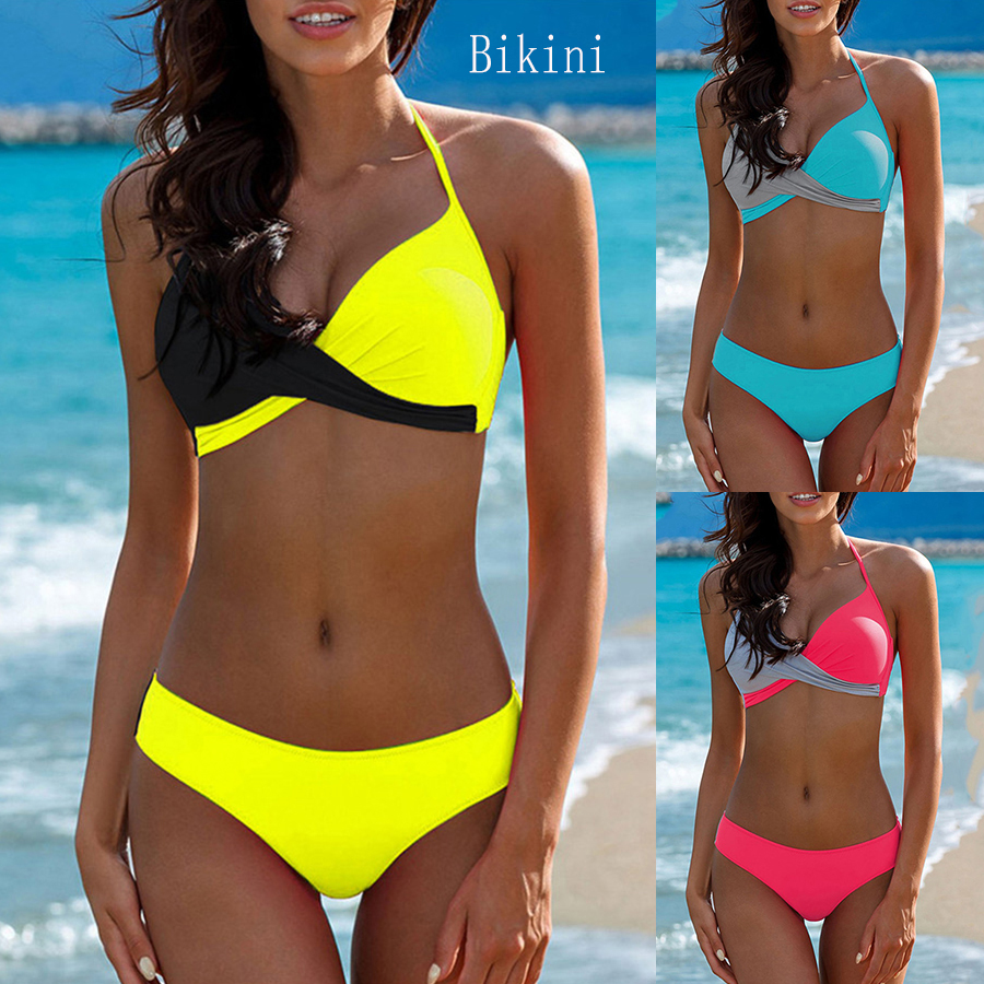 2019Sexy Triangle Bikini Suit New Ladies Swimsuit Swimwear Summer Beachwear Female Low Waist Color Matching Swimsuit Bikini
