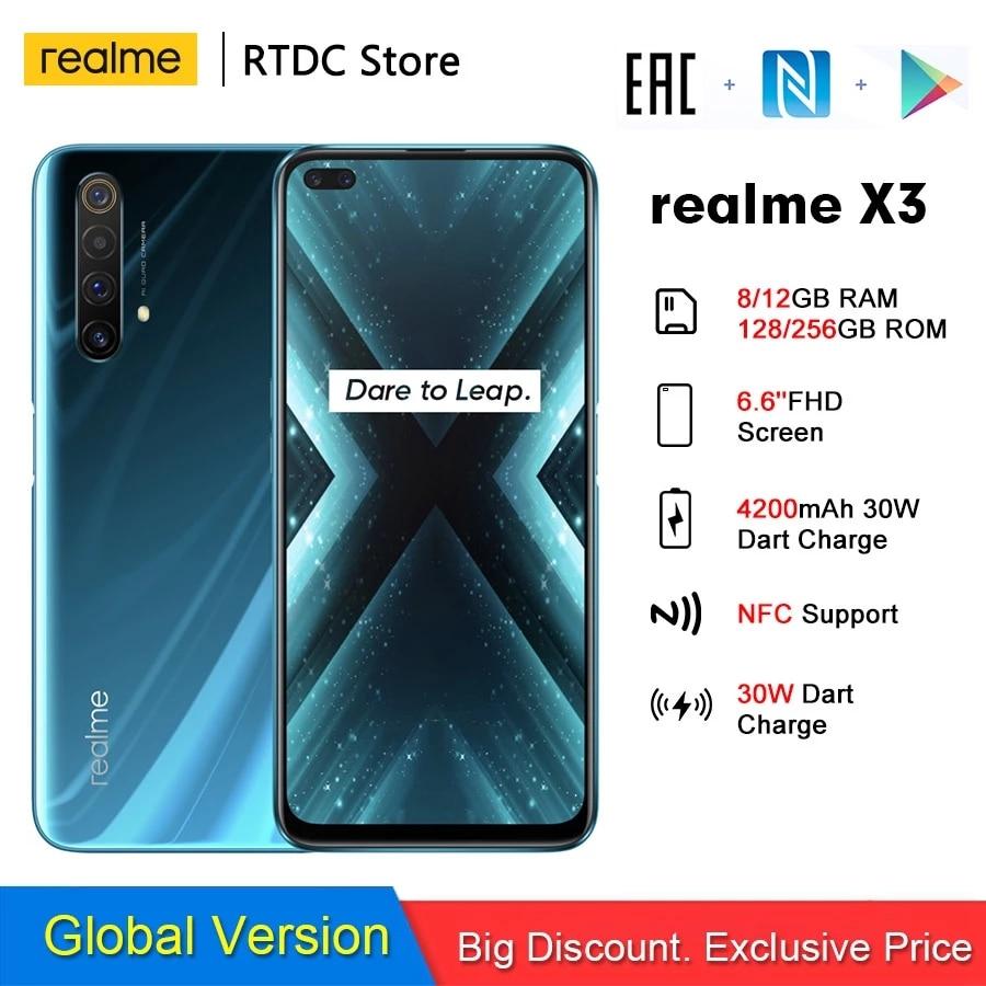 Realme X3 RMX2086 NFC 6,6 ''8/12 Гб 128/256 ГБ 64MP Snapdragon 855 + 64 Мп 60X суперзум 4200 мА/ч, 30W Дротика заряжать 4G мобильный телефон
