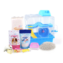 Hamster Cage Package Supplies Double Villa  with Wood Chips Grain Kettle Bathroom Bath Sand