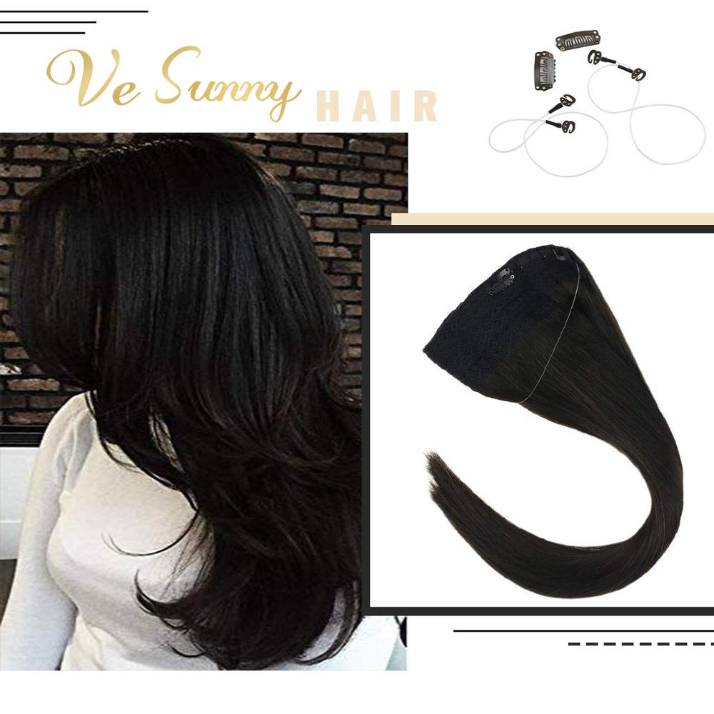 VeSunny Invisible Halo Hair Extensions Fishing Human Hair Flip In Wire With 2 Clips On Machine Remy Hair Natural Black #1B