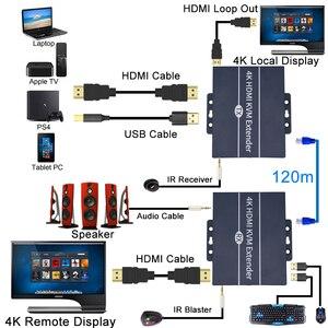 Image 2 - 2020 הטוב ביותר IP רשת HDMI KVM Extender 200m עם לולאה החוצה 1080P RJ45 יציאות HDMI Extender IR 660ft HDMI USB Extender מעל Cat5e/6