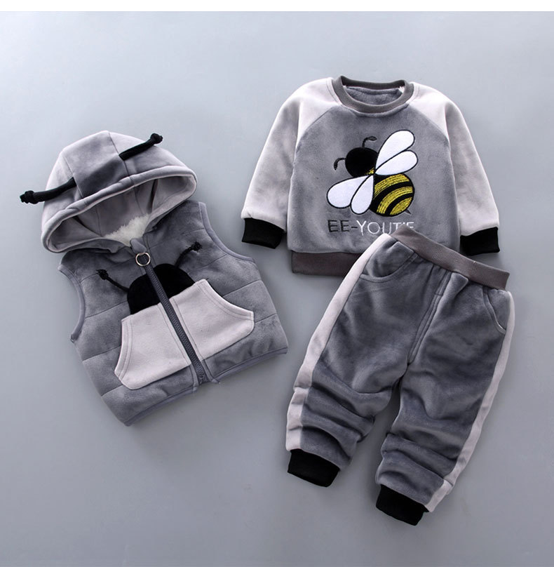 Baby Boy's Clothes Winter Warm Clothes Gold Velvet Bee Cartoon Print Plus Velvet Thick Sweater Baby Girl Hooded Vest 3 Piece Set