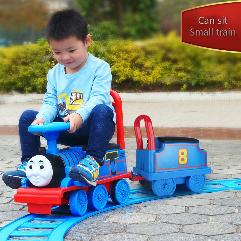 Thomas <font><b>Train</b></font> Children's Electric Rail Car Kids Ride on Car with Track Charging Toys for Boys and Girls image