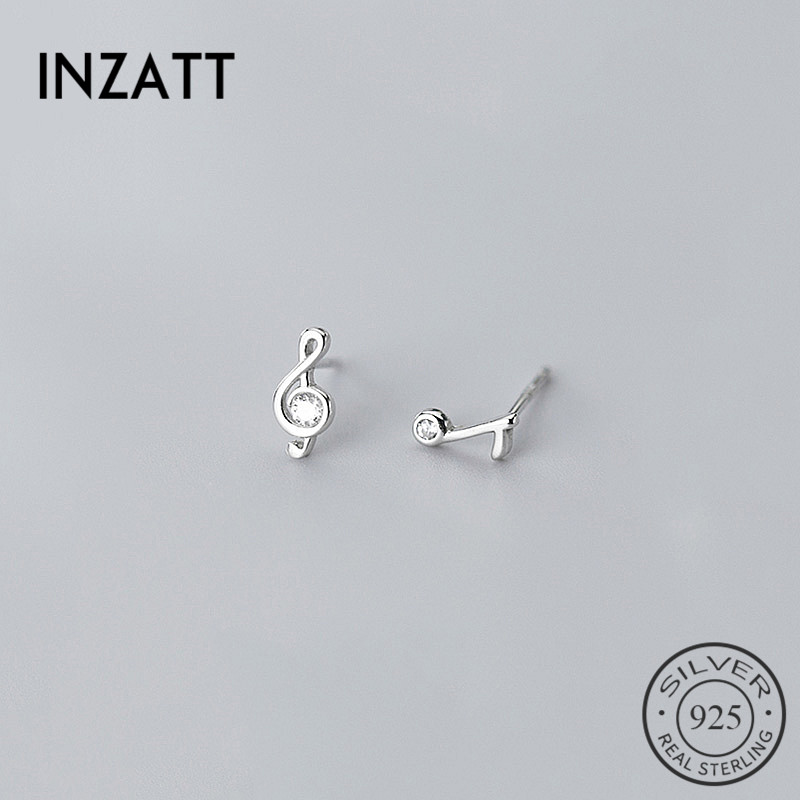 INZATT Real 925 Sterling Silver Minimalist Zircon Note Stud Earrings For Fashion Women Cute Fine Jewelry Geometry Accessories
