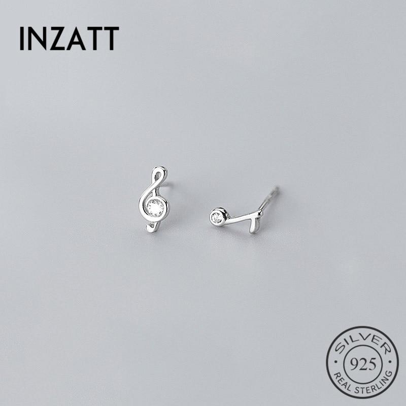 INZATT Real 925 Sterling Silver Minimalist Zircon Note Stud Earrings For Fashion Women Cute Fine Jewelry Geometry Accessories