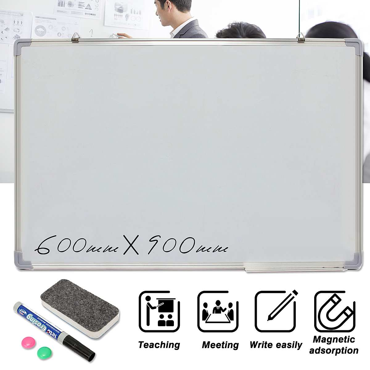 NEW 600x900MM Magnetic Whiteboard Writing Board Double Side With Pen Erase Magnets Buttons For Office School