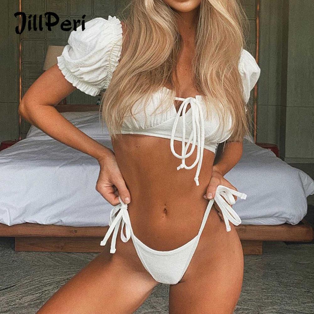 JillPeri Frauen Flare Weiß 2 Stück Bikini Set Süße Kurzarm Strap Sommer Strand Tragen Pool Badeanzug Sexy Low Taille bikini Set