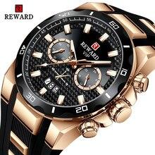 Recompensa moda grande dial relógio masculino marca de topo luxo cronógrafo silicone esporte quartzo relógios à prova dwaterproof água relogio masculino