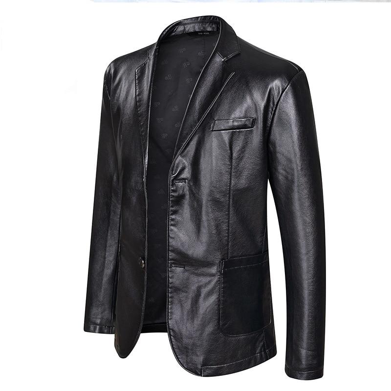 2018 Autumn Plus-sized Men Leather Jacket Fashion Casual Large Size Leather Coat MEN'S Outerwear Leather Coat Men's