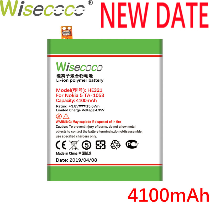 Wisecoco HE321 HE336 4100mAh New Powerful Battery For <font><b>Nokia</b></font> <font><b>5</b></font> Dual SIM (<font><b>TA</b></font>-<font><b>1053</b></font> <font><b>DS</b></font>) Phone Battery Replacement +Tracking Number image