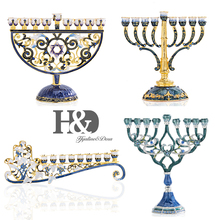 H&D 4 Styles Hand Painted Enamel Floral Hanukkah Menorah Candlestick 9 Branch Candelabra Embellished with Crystals Home Decor