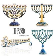 H & D 4 stilleri el boyalı emaye çiçek Hanukkah Menorah şamdan 9 şube mumluk kristalleri ile süslenmiş ev dekor