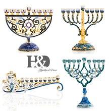 H & D chandelier Floral en émail peint à la main, Hanukkah Menorah, 4 branches, embelli avec cristaux, décoration de maison