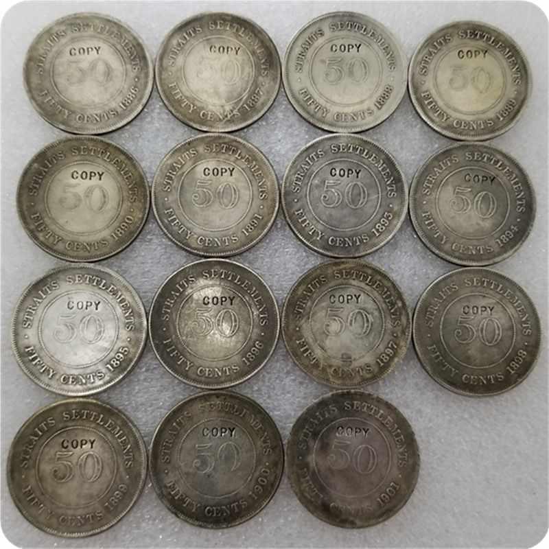 1886-1901 Straits settings Queen Victoria 50 Cent copia monedas