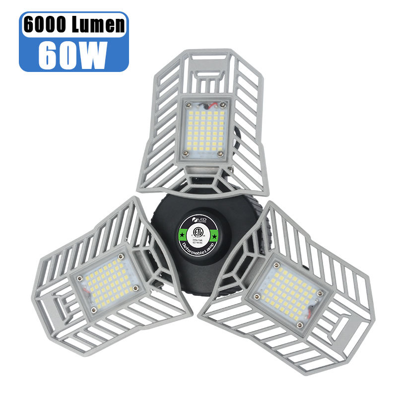 E27 Led Garage Light 60W Deformable Warehouse Lamp Super Bright High Bay Light Professional Industrial Lighting Workshop Lamp