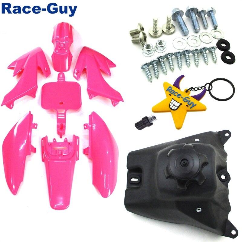 Розовые пластиковые комплекты обтекателей для крыльев + крепежные винты + топливный бак + вентиляционный клапан для XR50 CRF50 50cc 70cc 90cc 110cc 125cc 140cc