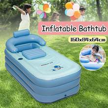 PVC Blue Large Size Inflatable Bathtub SPA Bath Barrel Folding Portable For Adults With Cover Cushion Household Inflatable Tub