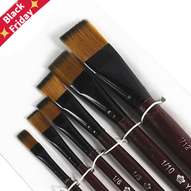 6Pcs/set Artist Paint Brush Oil Acrylic Paint Brush Artist Brushes Watercolor Brush Nylon Hair Drawing Tool Art For Supplies