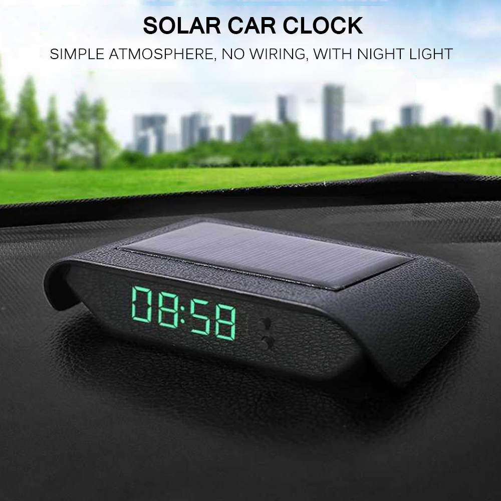Автомобильные часы, автомобильные внутренние цифровые часы, механика, солнечный свет, 24-часовое украшение автомобиля, электронные аксессуары